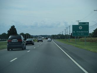 Delaware Route 1 - DE 1 southbound approaching the DE 12 interchange in Frederica