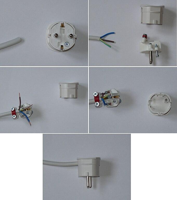 file diy plug wiring jpg wikimedia commons rh commons wikimedia org Power Cord Wiring BS 1363 Plug Adapters
