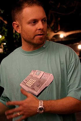 DJ Shadow's 1996 album Endtroducing is cited as the first created entirely from samples. DJ Shadow tim festival.jpg