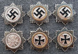 German Cross - German Cross in Silver, Gold, and with Diamonds. Post-war de-nazified versions below.