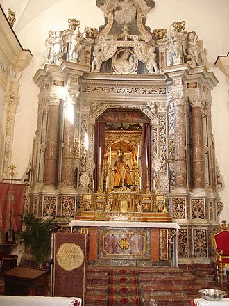 Pancras of Taormina - Church of San Pancrazio, Taormina. The altar, which contains a statue of Saint Pancras.