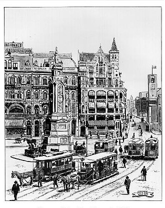 Trams in Amsterdam - Dam Square with horse trams, around 1903.