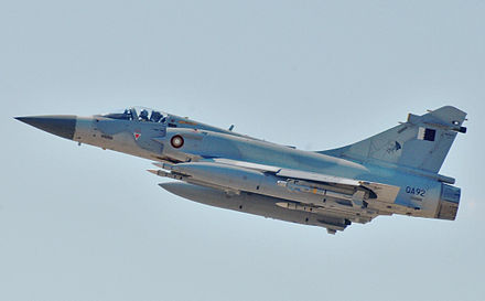 A Qatari Dassault Mirage 2000 flying over Libya Dassault Mirage 2000-5 participating in Odyssey Dawn (cropped).jpg