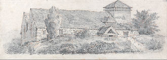 Llanfair Caereinion - David Cox - Llanfair Church, c.1813