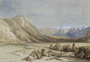 Biblical Mount Sinai - The approach to Mount Sinai, painting by David Roberts