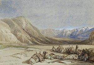 Biblical Mount Sinai - The approach to Mount Sinai, painting by David Roberts