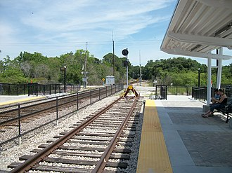 SunRail - Looking north from the DeBary station; SunRail plans to expand north to DeLand from here