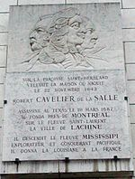 Portrait de La Salle et plaque commémorative à Rouen.