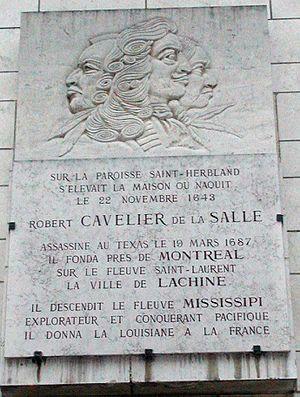 René-Robert Cavelier, Sieur de La Salle - Memorial Plaque to de La Salle in Rouen