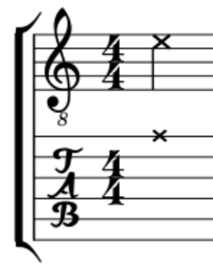 Ghost note - Illustration of dead note in musical notation and guitar tablature