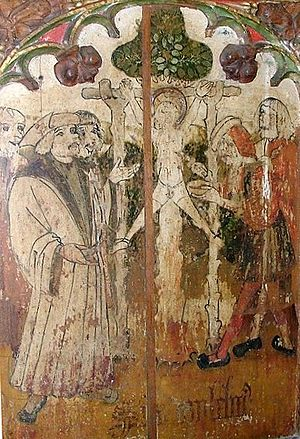 Blood libel - The crucifixion of William of Norwich depicted on a rood screen in Holy Trinity church, Loddon, Norfolk