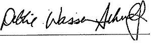 English: Signature of Congresswoman Debbie Was...