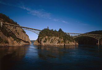 Deception Pass Bridge - Both Canoe Pass and Deception Pass Bridges, looking east