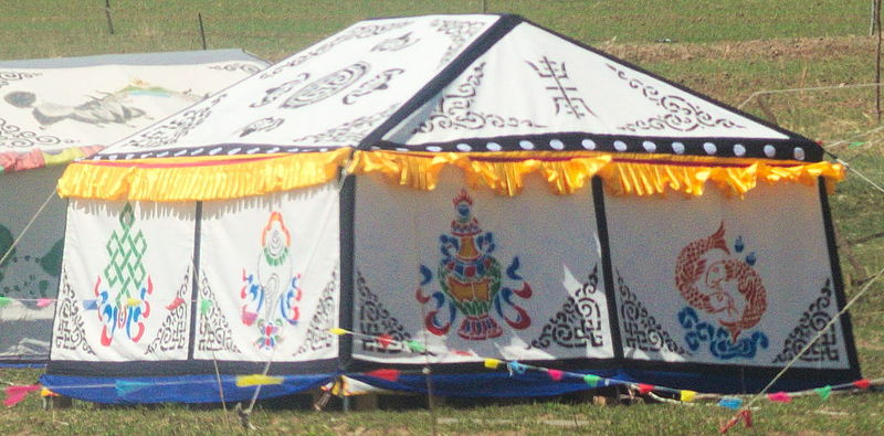 File:Decorated tent near lake Qinghai (1).jpg