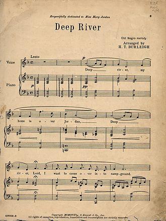 """Deep River (song) - Sheet music for Henry T. Burleigh's influential 1917 arrangement of """"Deep River"""""""