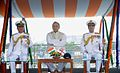 Defence Minister Arun Jaitely, Admiral Robin Dhowan and Vice Admiral Satish Soni onboard INS Kamorta.jpg