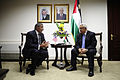Defense.gov News Photo 111003-F-RG147-1480 - Secretary of Defense Leon Panetta left meets with Palestinian President Mahmoud Abbas in Ramallah in the West Bank on Oct. 3 2011. Panetta is.jpg