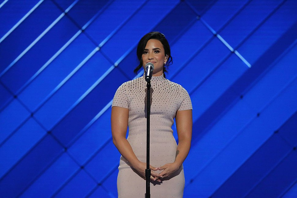 Demi Lovato at the Democratic National Convention, July 2016