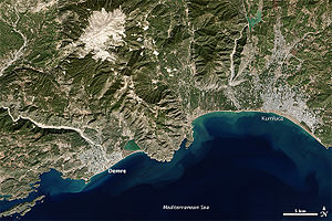 Demre - Demre, Kumluca and the Turkish Riviera from space