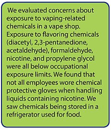 Highlights of concerns from a 2017 United States Department of Health and Human Services report regarding exposure to vaping-related chemicals in a vape shop.