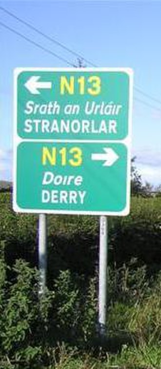 Derry - Road signs in the Republic of Ireland (County Donegal shown) use Derry and the Irish Doire.