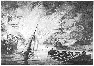 USS United States (1797) - Norfolk Navy Yard burns.