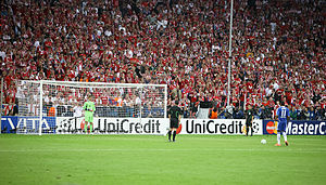 Penalty shoot-out (association football) - Deciding penalty kick of Didier Drogba in the 2012 UEFA Champions League Final