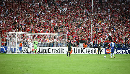Some football competitions use a penalty shootout to decide the winner if a match ends as a draw Didier Drogba Manuel Neuer last penalty kick Champions League Final 2012.jpg