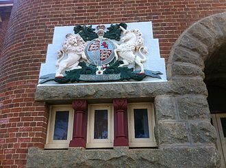 Albany Courthouse - Royal coat of arms and Dieu et mon droit motto near entrance