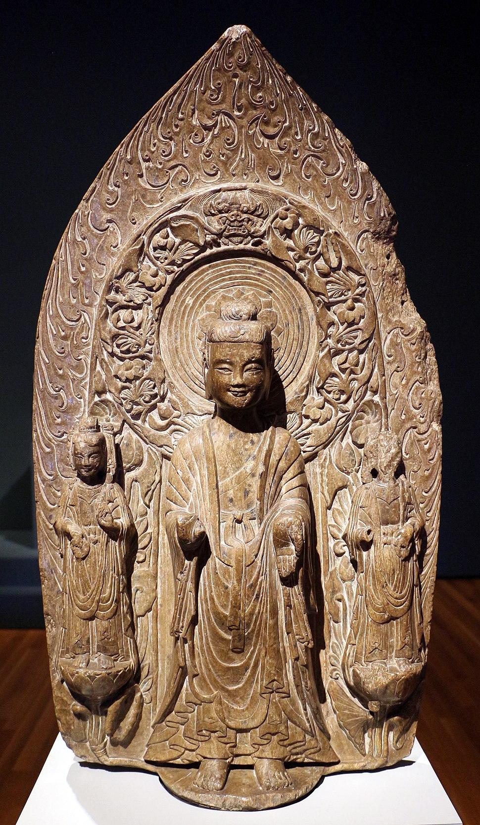 Dinastia wei orientale, stele con shakyamuni e i bodhisattva, dall%27hebei, 537, 01