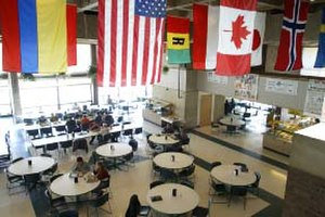 Johnson State College - Flags of students' home countries hang over a dining room in Stearns Hall, the student union building; from left to right: Ukraine, Austria, the U.S., Rwanda, the Netherlands, Canada, Japan, Norway and Sweden.