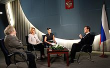 Dmitry Medvedev gave an interview to Russia Today and First Informational Caucasus television channels and the Ekho Moskvy radio station.jpg