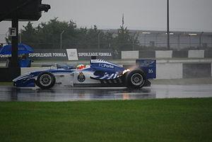 Tristan Gommendy - Tristan Gommendy driving the FC Porto car at Donington Park during the 2008 Superleague Formula season.