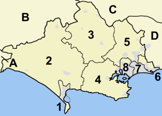 Dorset County Council - Map of Dorset's six shire districts and two unitary authorities. 1-6 are administered by Dorset County Council, but 7 and 8 are the unitary authority areas of Bournemouth and Poole, which are self-governed on local issues; they are considered part of the ceremonial county of Dorset