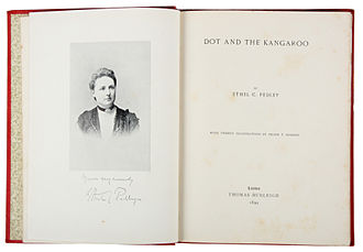Ethel Pedley - A scan of a first edition copy of Dot and the Kangaroo, which included a photograph of Pedley and a copy of her signature.