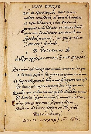 Bonaventura Vulcanius - Holograph text of a poem addressed by Vulcanius to Janus Dousa, founder of the Leiden University; written in Rotterdam, February 3, 1578