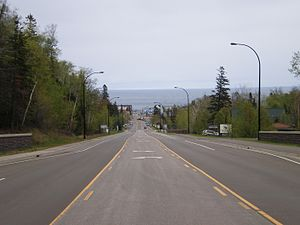 Minnesota State Highway 61 - Highway 61 entering Grand Marais from the south