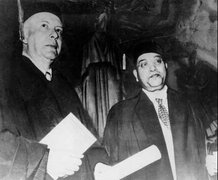 Dr. Babasaheb Ambedkar with Mr. Wallace Stevens at Columbia University after receiving Doctor of Laws (LLD) on June 5, 1952