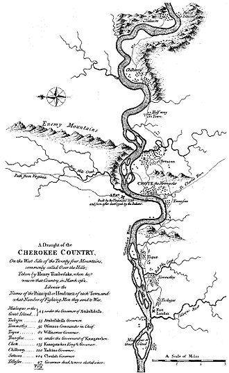"Overhill Cherokee - Timberlake's ""Draught of the Cherokee Country.""  Timberlake's ""Tennessee River"" is now known as the Little Tennessee River.  North is to the left."