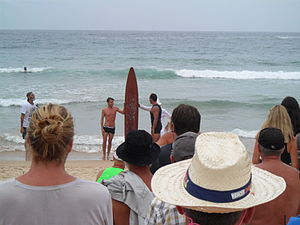 Freshwater, New South Wales - Re-enactment of Duke Kahanamoku visit and replica board, 2015.