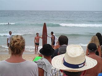 Freshwater, New South Wales - Re-enactment of Duke Kahanamoku visit and replica board, 2015.