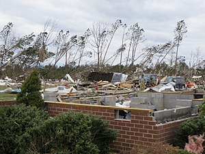 Tornado outbreak of February 23–24, 2016 - Remains of a home swept away at EF3 intensity near Dunbrooke, Virginia.