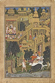 A Painting depicting Krishna's Dwarka made during Akbar's reign from the Smithsonian Institution