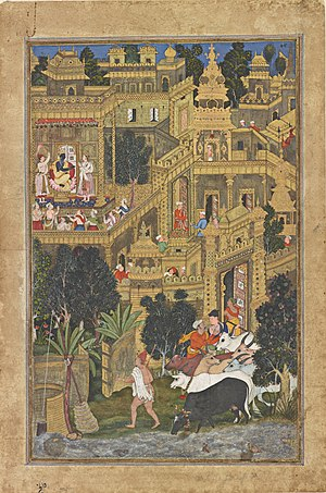 Dwarka - A painting depicting Krishna's Dwarka, made during Akbar's reign, from the Smithsonian Institution.
