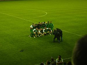Edinburgh derby - Hibs are presented with the East of Scotland Shield after winning the one-off match on 7 May 2008