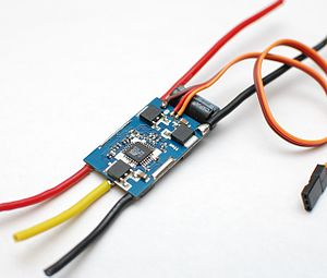 Electronic speed control - A generic ESC module rated at 35 amperes with an integrated BEC