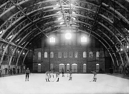 The early Quebec Skating Rink in 1894, representative of early indoor rinks. Early indoor ice rink.jpg