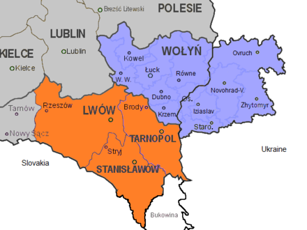 Map of divided Volhynia (blue) between Ukrainian and Polish (Wolyn) part, and Eastern Galicia (orange) in 1939 East Galicia and Volhynia 1939.png