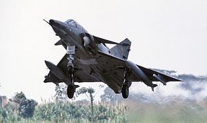 Ecuadorian Air Force - An Ecuadoran Kfir on takeoff during Exercise Blue Horizon '86