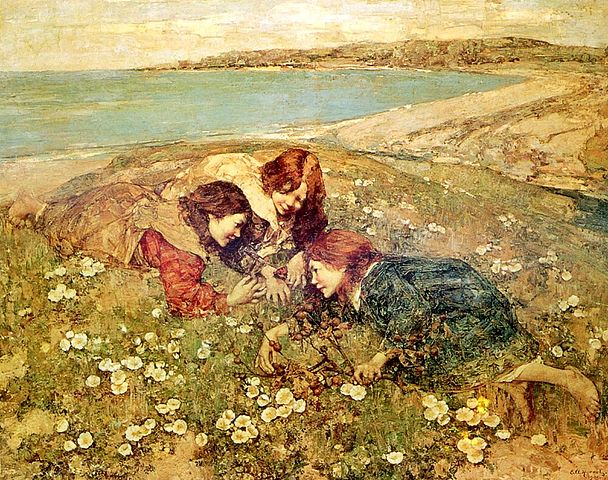 EDWARD ATKINSON HORNEL 608px-Edward_Atkinson_Hornel_-_The_Captive_Butterfly_1905